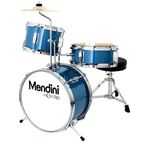 Mendini 13 Inch 3-Piece Kids Junior Drum Set with Adjustable Throne by Cecilio