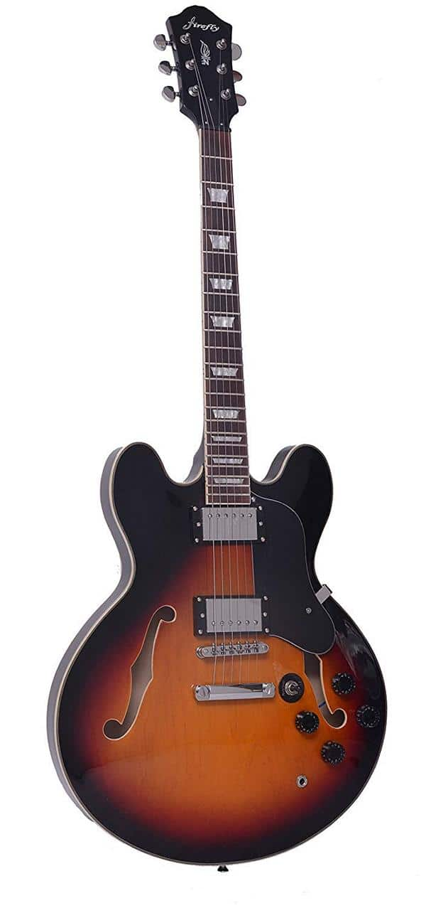 firefly sunburst hollow body electric guitar recommended for beginners. Black Bedroom Furniture Sets. Home Design Ideas
