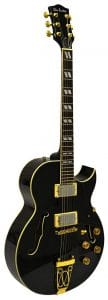 Glen Burton GE775-CHIC-QBK Chicago Hollowbody Electric Guitar, Humbucker Black Gold Chrome
