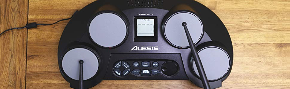 Alesis Compact Kit 4 - Portable 4-Pad Tabletop Electronic Drum Kit with Drumsticks & Built-In Learning Tools