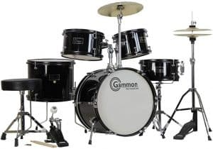 Gammon 5-Piece Junior Starter Drum Kit with Cymbals, Hardware, Sticks, & Throne - Black