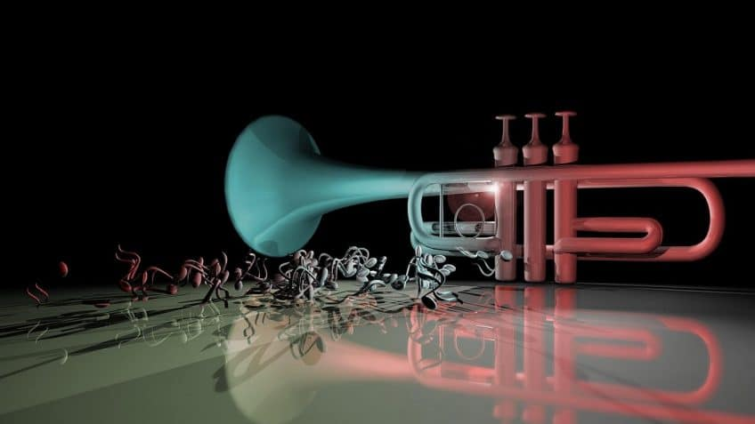 types of trumpets with music notes