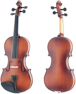 Mendini Full Size 4/4 MV300 Solid Wood Violin - back and front view
