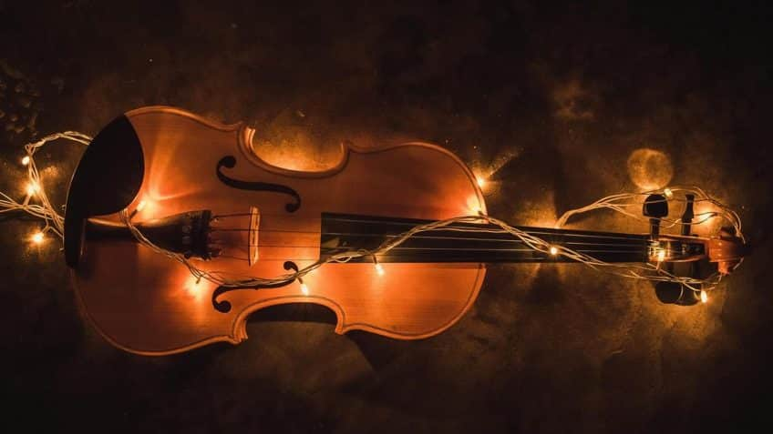 the violin with lights background
