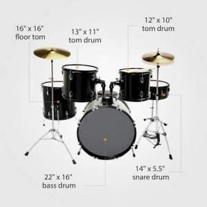 Lagrima 5 Piece Full Size Drum Set