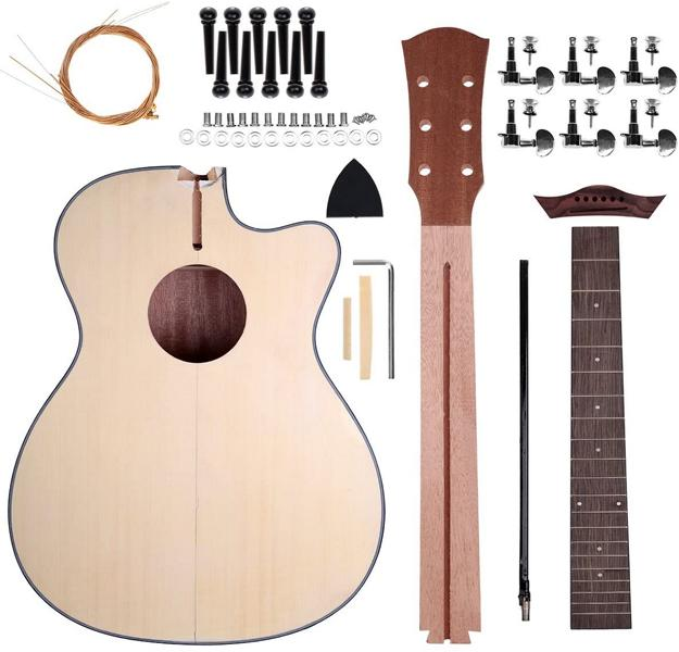 Acoustic Guitar Kit - PICTURE OF A DISASSEMBLED DIY GUITAR PARTS